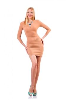 Славная модель женщины изолированная на белизне