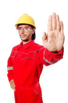 白で隔離赤いつなぎ服を着た男