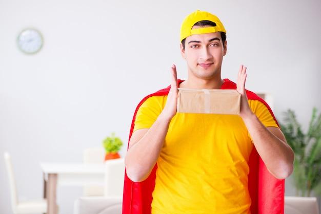 ボックスを持つスーパーヒーロー配達人