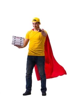 Парень доставки пиццы супер герой изолированы
