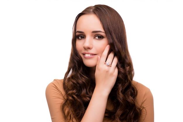 白で隔離美容コンセプトの若い女性