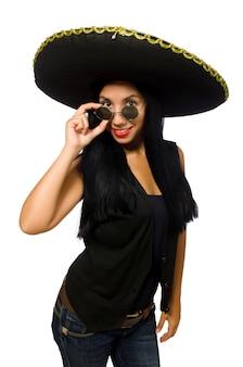 白で隔離ソンブレロを身に着けている若いメキシコ人女性