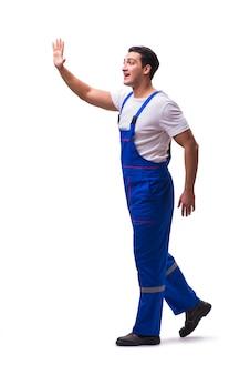 白地に青いつなぎ服を着ているハンサムな修理工