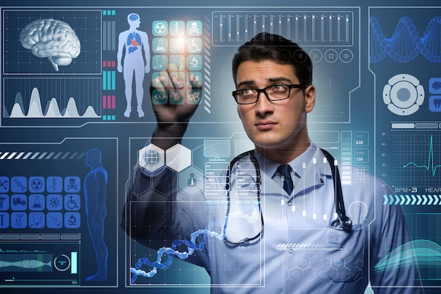 Доктор в футуристической медицинской концепции нажав кнопку