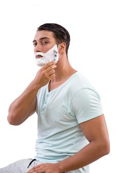 ハンサムな男の髭剃り