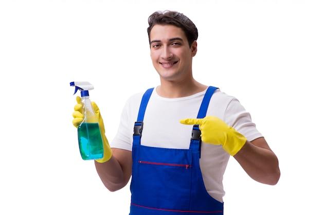 Человек с чистящими средствами на белом