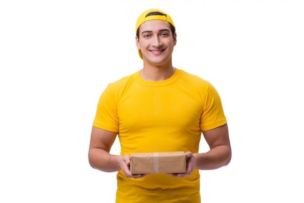 白で隔離のクリスマスプレゼントを提供する男