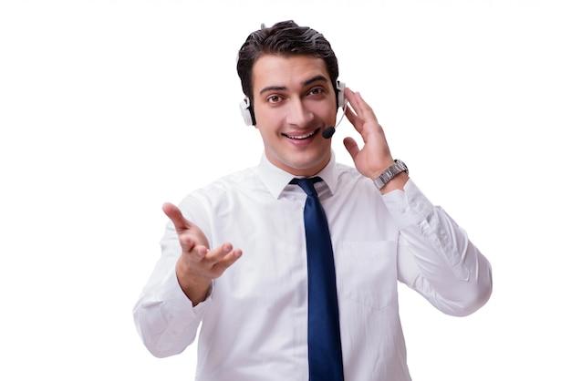 白で隔離されるヘッドセットを持つハンサムな男