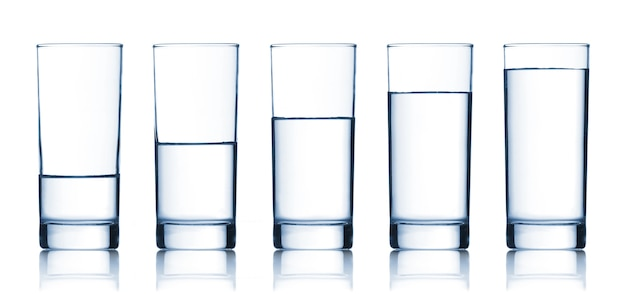 水で満たされた眼鏡セット