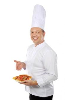 Шеф-повар с пиццей