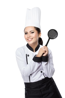 Женский шеф-повар готов приготовить