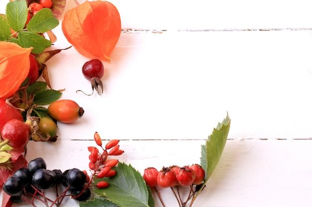 白い木製の背景ローズヒップローワンサンザシ海クロウメモドキチョークベリーのお茶の秋の果実