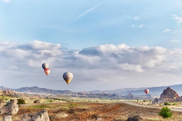 多くのカラフルな風船が空に飛び立つ