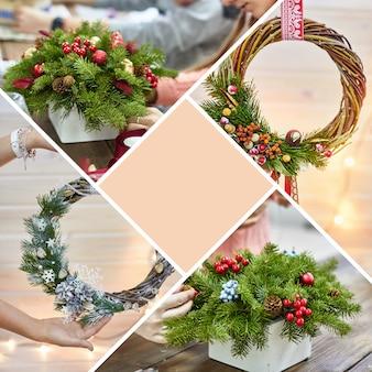クリスマスの装飾花輪のコラージュモックアップ