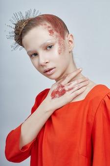 Красота портрета девушки натуральная чистая кожа, косметика и макияж для детей