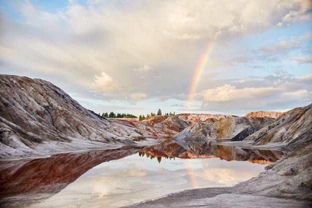 砂丘の虹と夕日