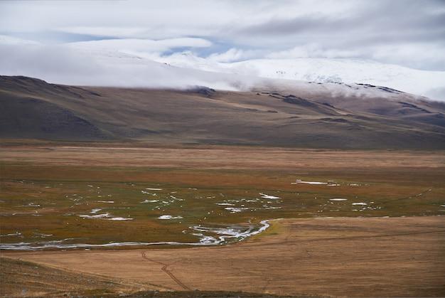 草原地帯の寒い曇りの天気。アルタイのウコク高原。素晴らしい寒い風景