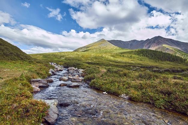 Путешествие пешком по горным долинам. красота дикой природы. алтай, дорога к шавлинским озерам. путешествовать пешком