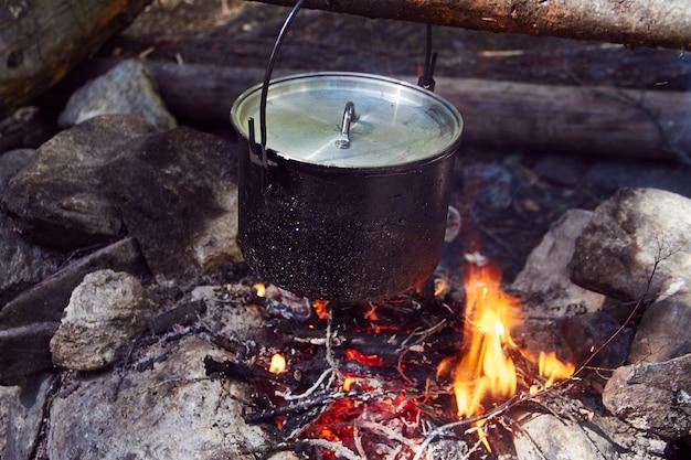 Котел кипит на огне в лесу.