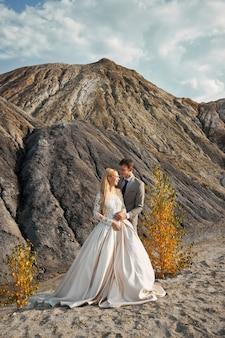 素晴らしい風景に恋に美しいカップル