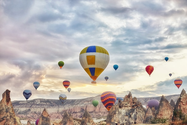 たくさんの風船が朝の空を飛ぶ