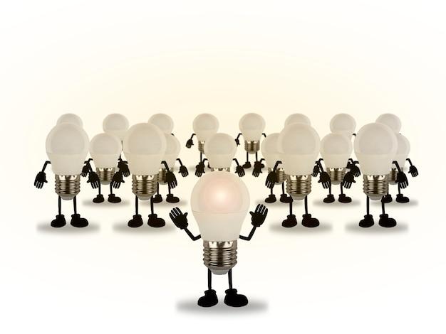 電球によって指揮される電球のセット、創造的なインスピレーションの概念