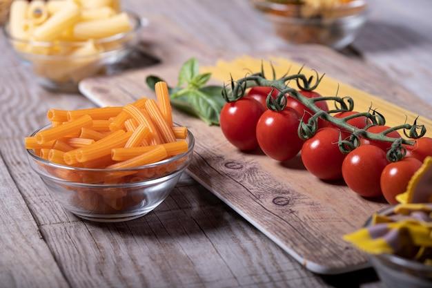 イタリア料理の食材のクローズアップショット
