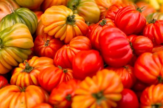 新鮮でおいしいトマトの背景の山