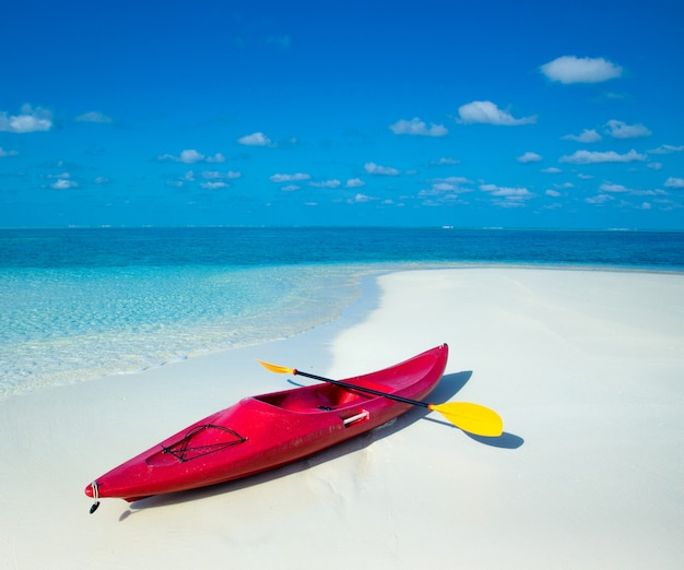 晴れた日に熱帯のビーチでカヤック