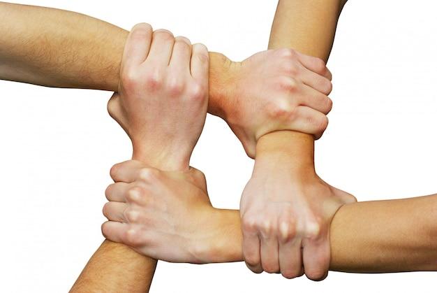 Руки схватившись друг за друга, делая квадрат