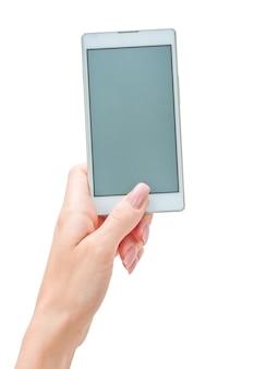 大きなタッチスクリーンのスマートフォンを持っている手