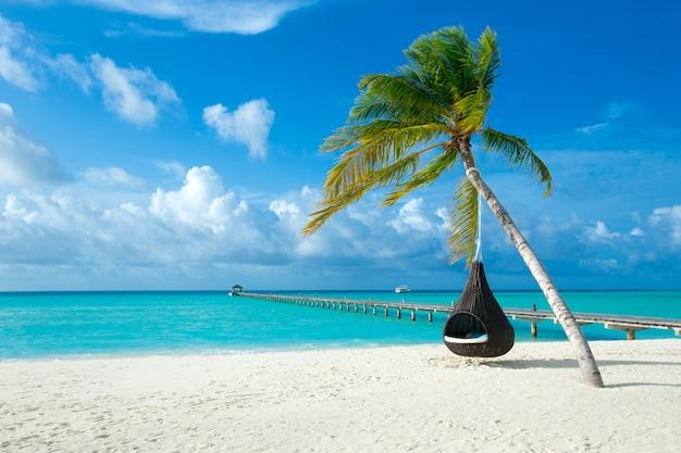 Мальдивские острова с белым песчаным пляжем и морем