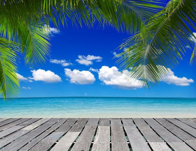 Фон презентации продукта. красивый тропический пляж, вид на горизонт между морем и небом