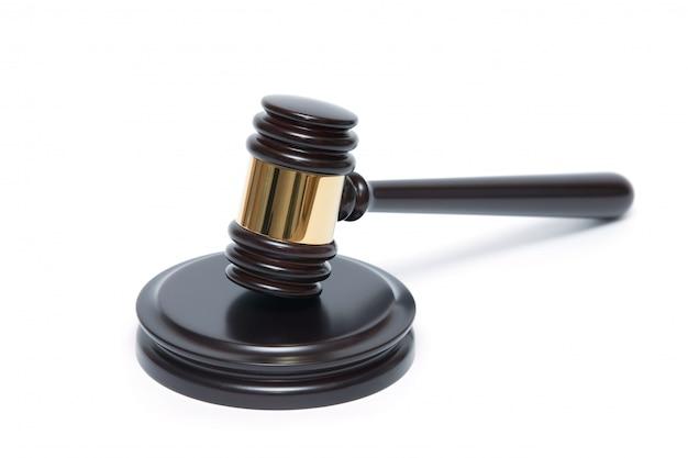 白で隔離される木製裁判官小槌