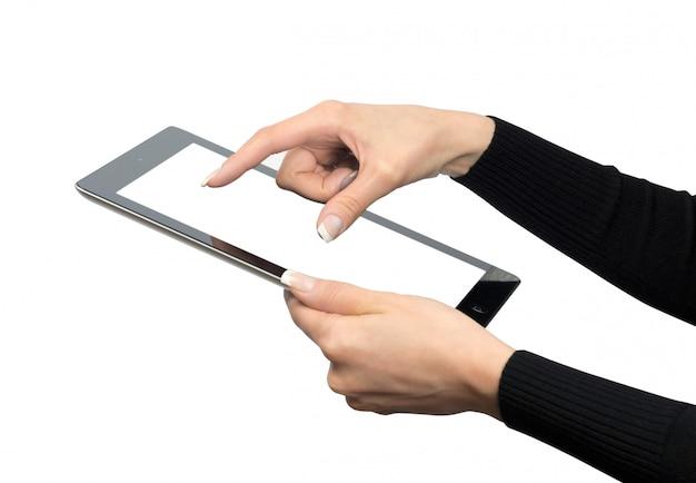 デジタルタブレット、空白の画面を使用している人