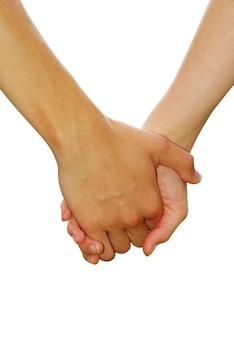 Рука в руке, изолированная на белом