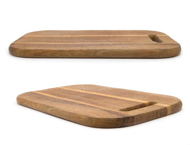 白い背景に分離された木製のまな板