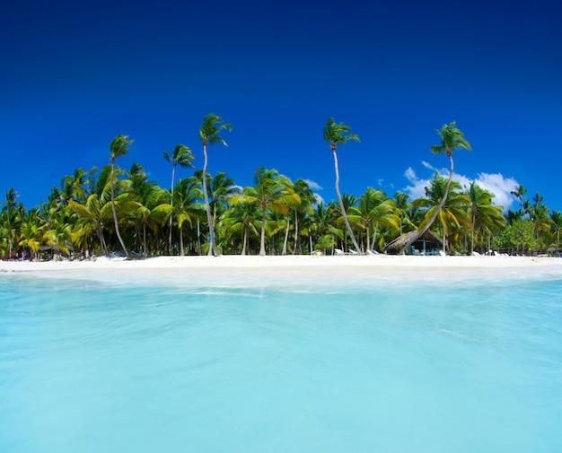 Пляж и красивое тропическое море. карибское море летом с голубой водой. белые облака на голубом небе над морем лета. тропический отдых на море.
