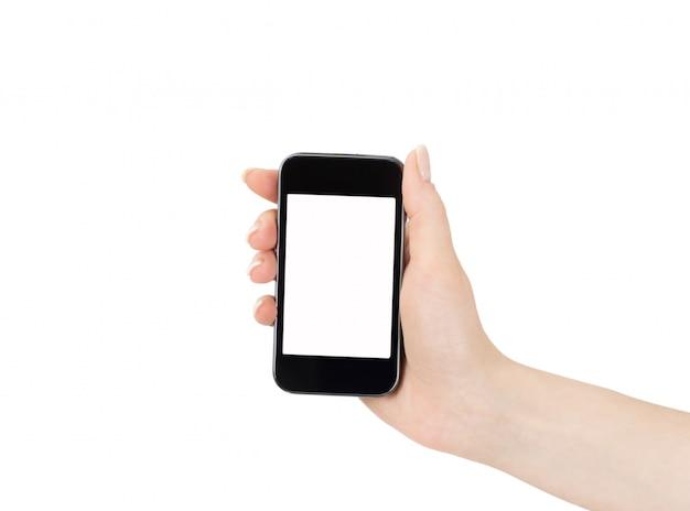 女性の手で携帯電話