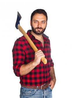格子縞のシャツと木こり