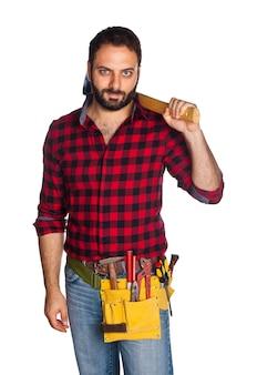 格子縞のシャツと労働者