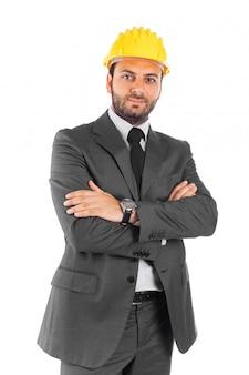 Красивый инженер-строитель на белом фоне