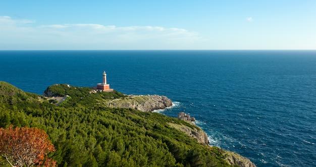 カプリ島、イタリア、ヨーロッパの灯台