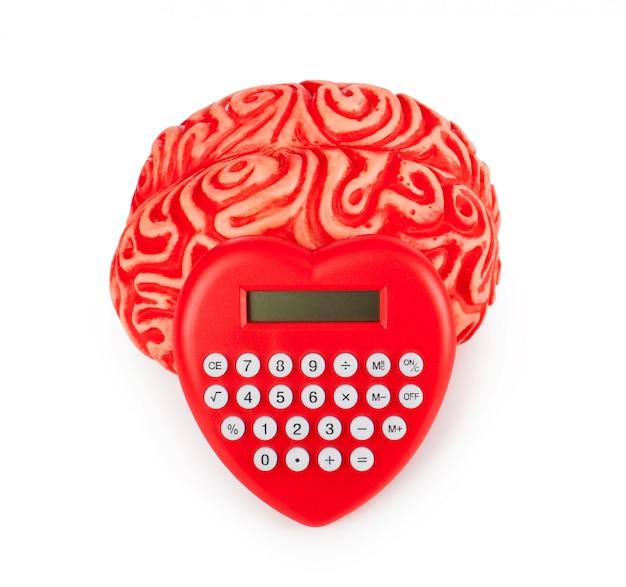 ハート型電卓を持つ人間のゴム脳