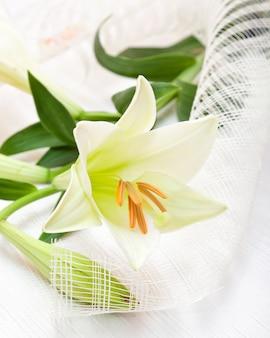 美しい白いイースターユリの花の花束