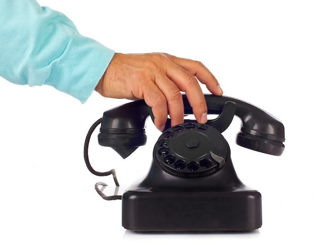 Старый ретро бакелитовый телефон