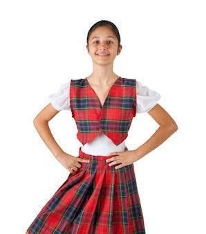 赤い格子縞の典型的な服を着たティーンエイジャー