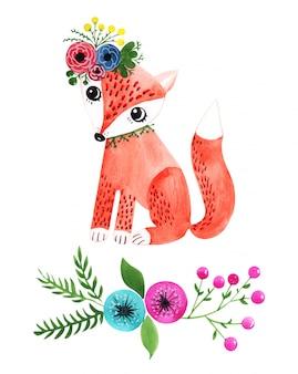 夏のロマンチックなスタイルのキツネの水彩イラスト