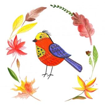 赤黄色の鳥の水彩イラスト