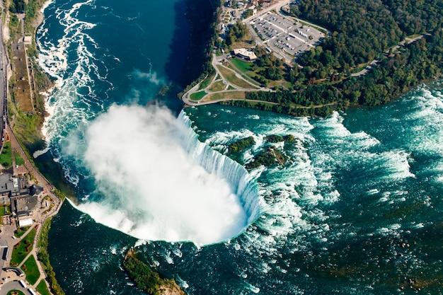 カナダ、オンタリオ州、ナイアガラの滝の素晴らしい空撮